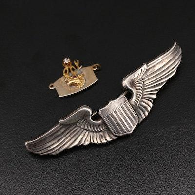 Vintage WWII Sterling Air Force Pilot Wings an 10K Elks Lodge Pendant