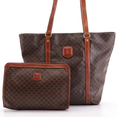 Celine Shopper Tote Bag and Toiletry Bag in Macadam Canvas and Cognac Leather
