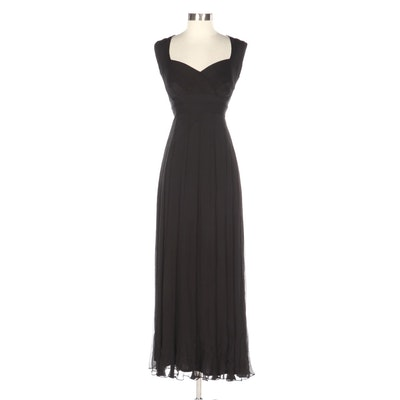 Tadashi Shoji Tadashi Petite Collection Bandage Bodice Black Silk Evening Dress
