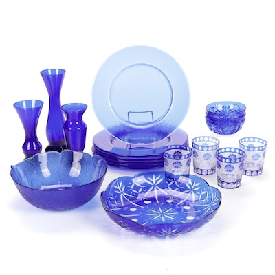 Cobalt Cut to Clear Bowl and Tumblers with Other Glass Tableware
