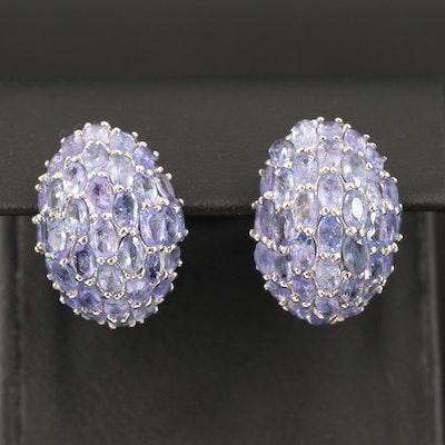 Sterling Tanzanite Dome Earrings