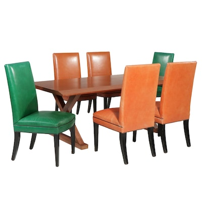 Custom Mahogany Dining Table with Six Mike Leather Side Chairs