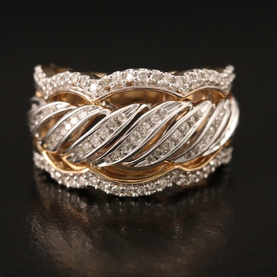 10K 0.50 CT Diamond Band with Scalloped Edges