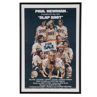 """Paul Newman Signed """"Slap Shot"""" Framed Movie Poster"""