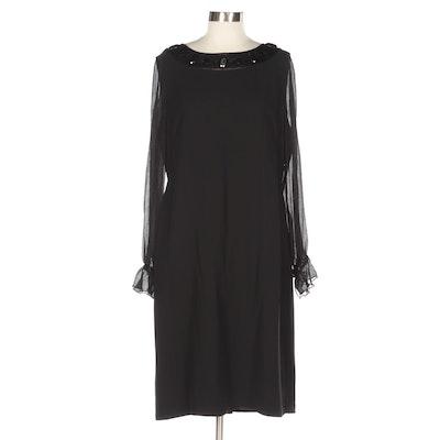 Oscar by Oscar de la Renta Black Long Sleeve Dress with Embellished Neckline