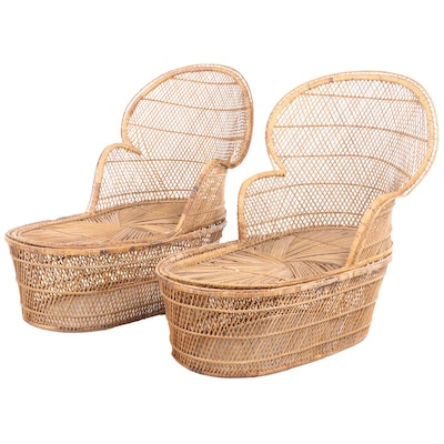 Pair of Wicker Fan-Back Chaise Lounge Chairs, Mid-20th Century