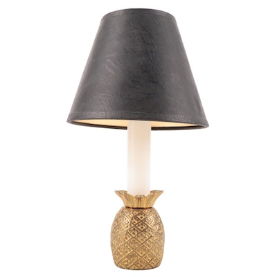 Small Brass Pineapple Candlestick Accent Lamp