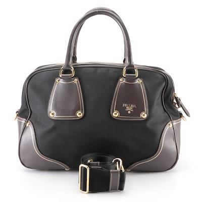 Prada Black Nylon Tessuto and Brown Saffiano Leather Convertible Bauletto Bag