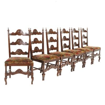 Six Renaissance Revival Walnut Dining Chairs, Mid-20th Century