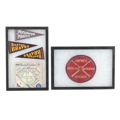 1940s Pirates and Braves Mini Team Pennants with Umpire Embroidered Cloth Patch