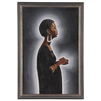 Bro John Figural Acrylic Painting of Woman