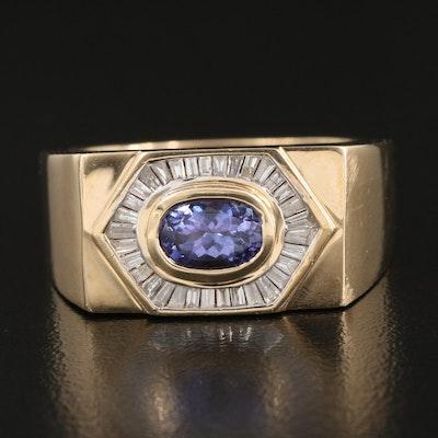 14K Bezel Set Tanzanite and Diamond Halo Ring