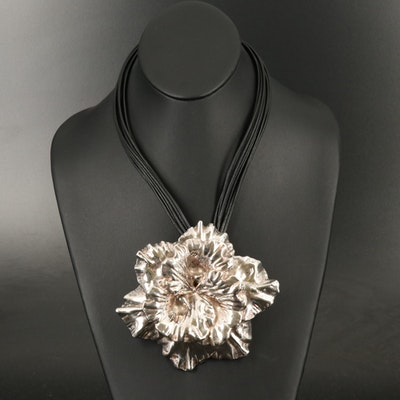 Israeli Sterling and Leather Flower Runway Necklace