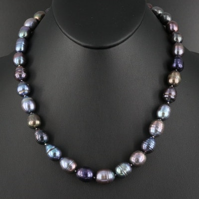 Pearl Necklace with a Sterling Silver Cubic Zirconia Clasp