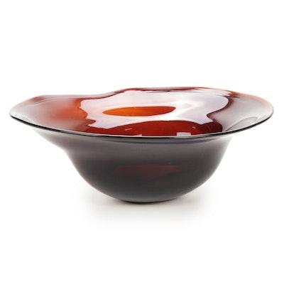 Robert Eickholt Handblown Freeform Art Glass Bowl, 2005