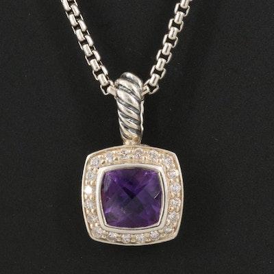 David Yurman Sterling Amethyst and Diamond Albion Pendant Necklace