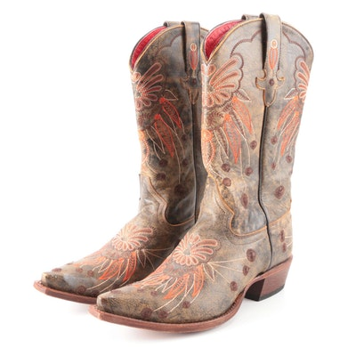 Macie Bean Western Style Boots in Distressed Leather with Embroidery
