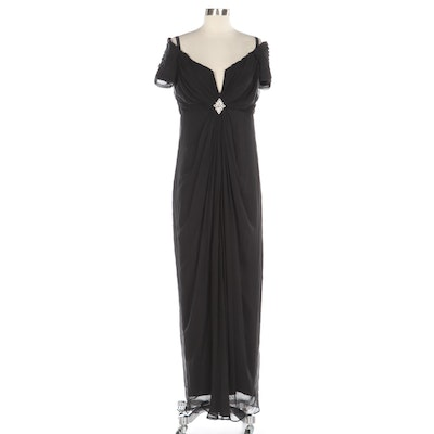 Tadashi Black Drape Front Accent Embellished Occasion Gown
