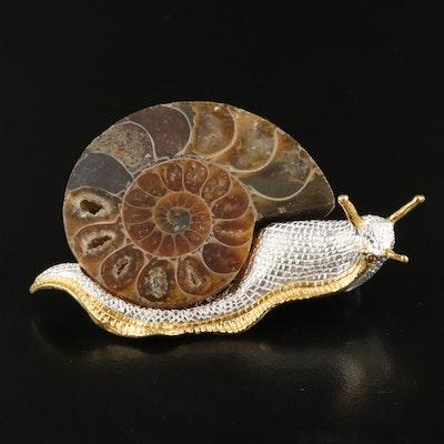 Sterling Silver Ammonite Snail Brooch