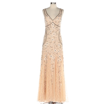Sue Wong Nocturne Beaded Lace Sleeveless Evening Gown with V-Neck Neckline