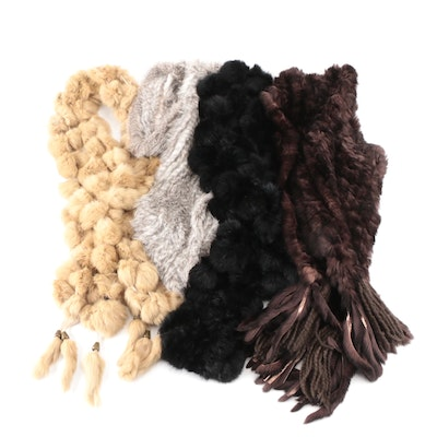 Pom-Pom Knit and Rabbit Fur Infinity and Fringed Scarves
