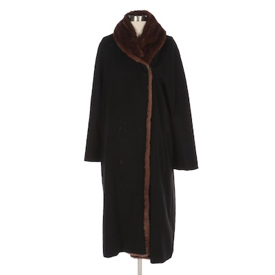 Max Mara Wool-Cashmere Blend Double-Breasted Coat with Mink Fur