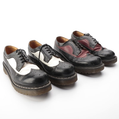 Men's Dr. Martens Thick-Sole Wing-Tip Brogues in Smooth Leather