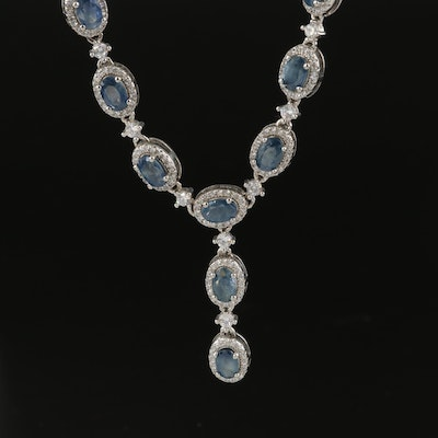 Sterling Silver Sapphire and Cubic Zirconia Drop Necklace