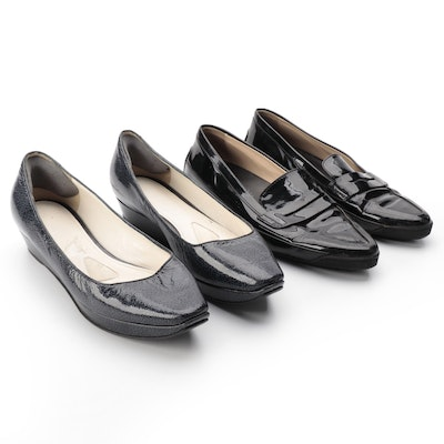 Jil Sander Textured Patent Leather Platform Flats & Tod's Patent Leather Loafers