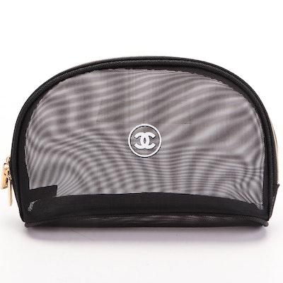 Chanel Promotional Black Mesh Cosmetics Bag