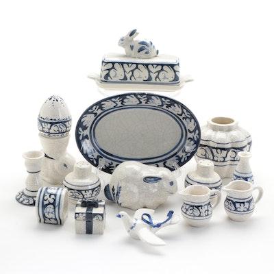 Nash Pottery Rabbit Motif Tableware, Late 20th Century