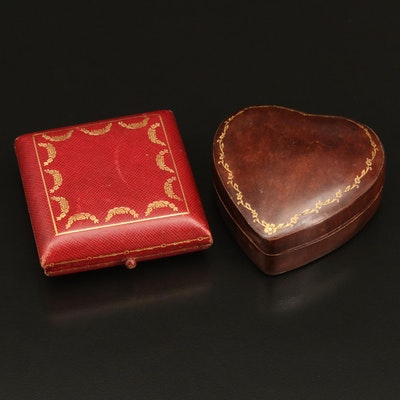 Cartier and Italian Leather Trinket Boxes, Vintage