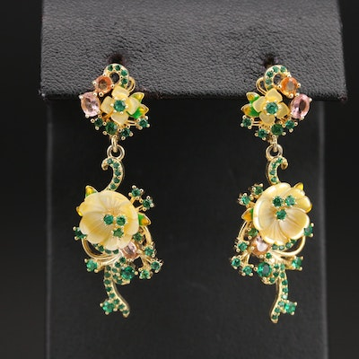 Sterling Mother of Pearl, Sapphire, and Gemstone Floral Drop Earrings