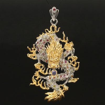 Sterling Tanzanite and Sapphire Dragon Pendant