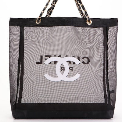 Chanel Promotional Mesh Tote Bag with Interwoven Leather Chain Straps