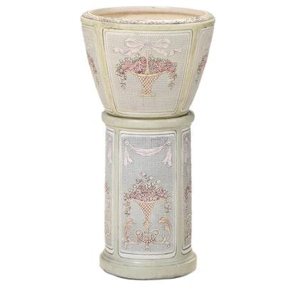 Polychrome-Glazed Ceramic Jardinière-on-Stand, 20th Century