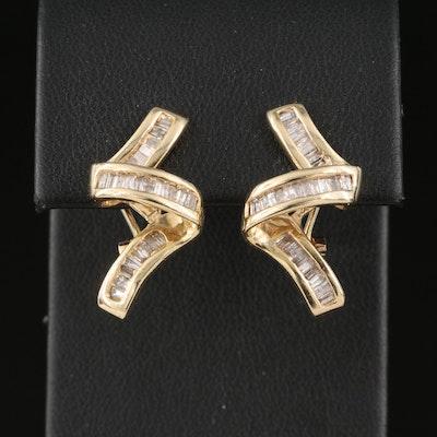 14K Diamond Ribbon Earrings