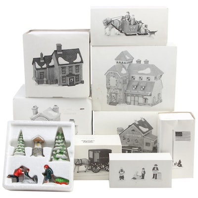 """Department 56 """"New England Village"""" and Other Porcelain Buildings and Villagers"""