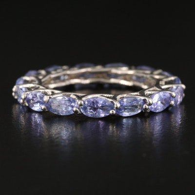 Sterling and Tanzanite Eternity Band