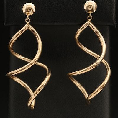 14K Spiral Pendant Earrings