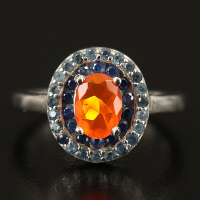 Sterling Fire Opal and Sapphire Double Halo Ring