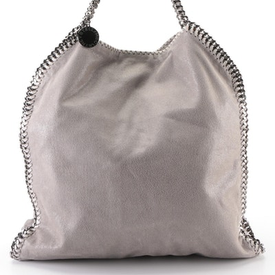 Stella McCartney Falabella Large Tote and Zip Pouch in Grey Faux Suede