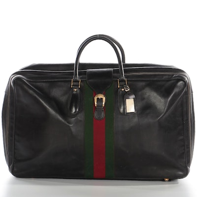 Gucci Large Suitcase in Black Leather with Web Stripe, 1960s