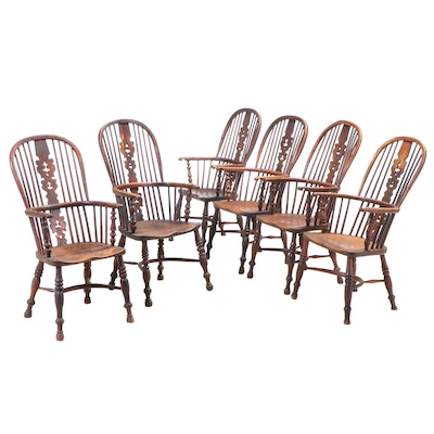 Matched Set of Six Thames Valley Yew & Elm Windsor Armchairs, Late 19th Century
