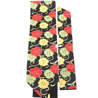 Karakusa Black Floral Tsukuri Nagoya Obi, Shōwa Period