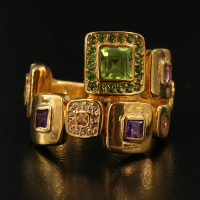 Sterling Geometric Ring with Amethyst, Peridot and Sapphire