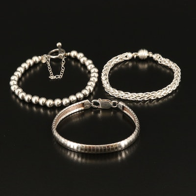 Sterling and 950 Silver Bracelets Featuring Silpada and Omega Chain