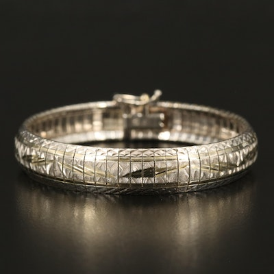 Sterling Omega Chain Bracelet with Textured Finish