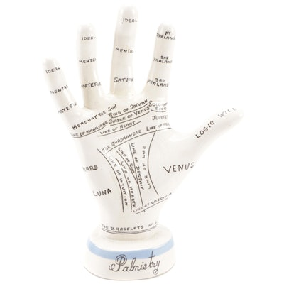 Hand-Painted Porcelain Palmistry Hand with Palmistry Little Blue Book
