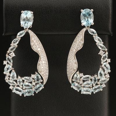 Sterling Sky Blue Topaz and Cubic Zirconia Teardrop Earrings